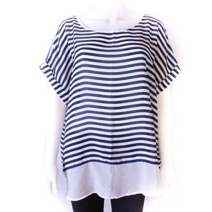 Blue and White Stripe Top 1X (M000)